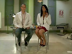 Corey Sullivan and Honey Foxxx suck each other's cocks in a hospital