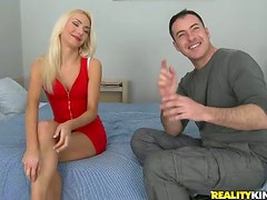 Skinny blonde Victoria gets her body covered with cum after ardent banging