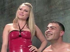 Cock Ride by Blonde Girl after Tying and Strapon Fucking the Dude