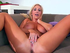 Pretty young and slender blonde Tasha Reign is naughtily masturbating her