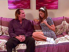 Evan Stone is a hot babysitter who stayed late to chat with her boss named Riley Reid. After