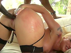 Hot ass cheating cuckold blonde Leya Falcon with big tits and cheep make up gets her