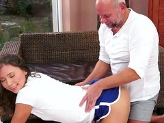 Flexible sporty brunette sucks the gaffer's dick for gooey tasty cum