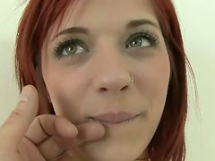 Pale like a ghost amateur brunette kneels down to give a stout blowjob