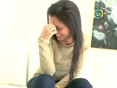 Smiliny brunette Amy gets rid of clothes to give a solid blowjob for sperm