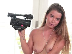 Emotional hot amateur gal with blond hair gets hammered doggy tough on cam