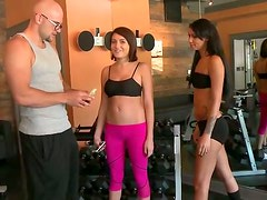 Flirtatious babes get wild with their fitness instructor