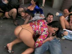 Back alley orgy scene with extremely seductive hotties