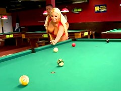 Plump curvy hot blondie masturbates her wet pussy on billiard table