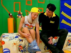 Filthy blond teen in yellow cap desires to win a dick for hot sex tonight