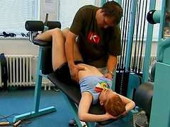 Redhead teen hottie is seduced by perverted dude in a gym