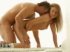 Luscious blond amateur gets nailed hard in doggy position