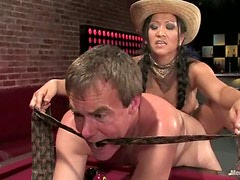 Wild Bill gets spanked and fucked hard by Asian milf Kitty Langdon