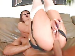 Hot brunette ends up with a mouthful of cum after anal sex