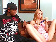 Blonde teen has her first interracial scene with a monster cock