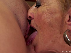 Horny and filthy granny is so high about that shaved twat