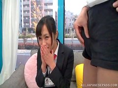 Nice Emi Asano looks how a guy jerks off looking at her