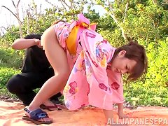 Japanese chick gets her vag stunningly fucked in a forest