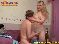 Blonde drunk on champagne sucks his dick
