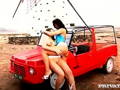 Group sex on the truck with Natalia and Sabrina