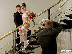 WOnderful bride gets fucked by two men at a time