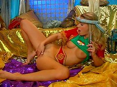 Oasis of pleasure with nasty blonde teen Polly playing with dildo toy
