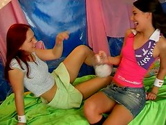 Kinky brunette practices ice dildo  fuck with her lustful gf