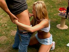Peachy teen polishes dick of one elder guy outdoor