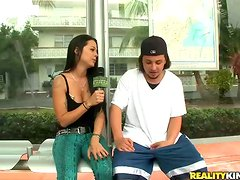 Sex with a wonderful brunette in the van