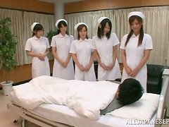Five Hot Japanese Nurses Pleasing a Patient's Dick in Hospital Room