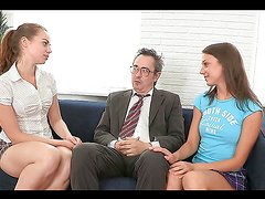 A Rough Threesome With Naughty Teens For An Old Man