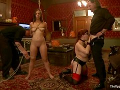 Audrey Rose blows and gets her snatch fisted in BDSM video