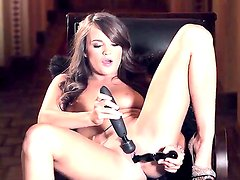 Adorable young long haired brunette Teal Conrad with natural tits and french manicure in high