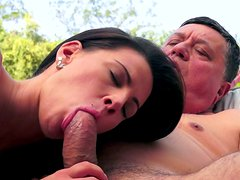 Alluring busty brunette babe gets her cunt eaten by horny dad