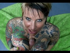 Busty tattooed milfs fucked by a monster cock in pov