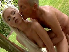 Curvy appetizing blondie Caroline gets fucked mish by old bastard Paul