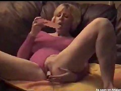 Dildo fucking wife sucks cock