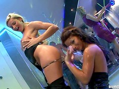 Pretty party girls happy to have an orgy