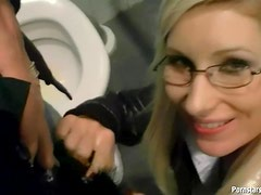 Glasses girl loves public blowjobs