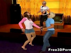 3D cartoon brunette babe sucks and fucks in the club