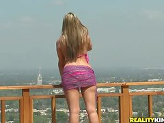 Athena Pleasures gives head and gets stunningly fucked on a roof