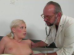 Grey haired old doctor gets a solid blowjob provided by spoiled blondie