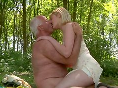 Lewd sexy blondie Carrie gets her fresh pussy eaten by old man John