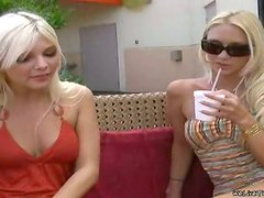 Two sweet blonde girls lick and toy pussies on a sofa
