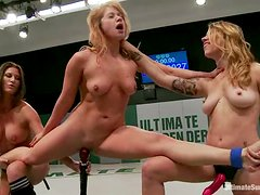 Two hot European girls fight on a ring and toy their pussies