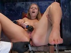 Lovely blondie Chamille gets tortured deep in her tight pussy