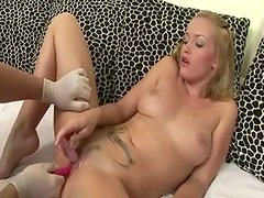 Tiny pussy of blonde wench KATHIA is stuffed with monster size dildo