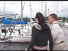 Horny Teen Brunette's Nailed On The Deck Of A Boat