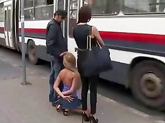 beautiful blonde slut handcuffed and used in a bus