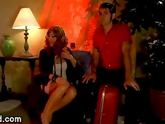 Tranny sits on guys face and jerks off his dick then fucks his ass